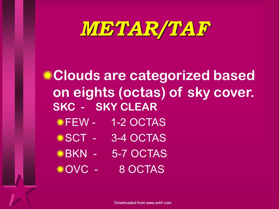 METAR/TAF Clouds are categorized based on eights (octas) of sky cover. SKC - SKY CLEAR. FEW OCTAS.