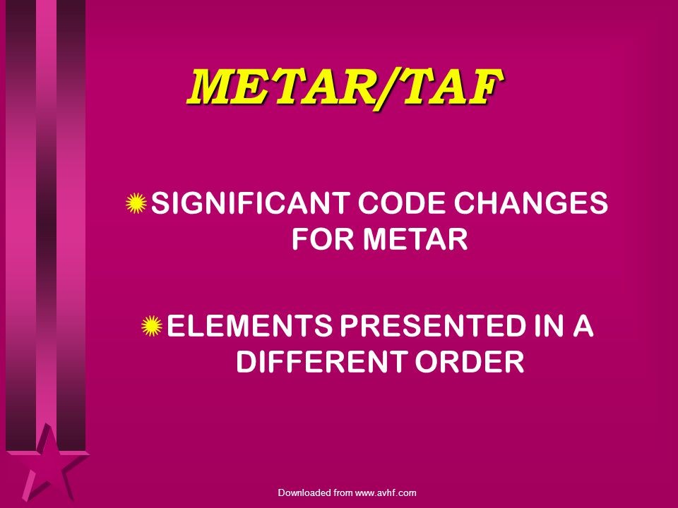 METAR/TAF SIGNIFICANT CODE CHANGES FOR METAR