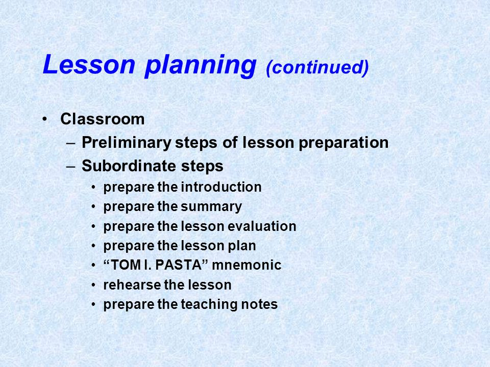Lesson planning (continued)