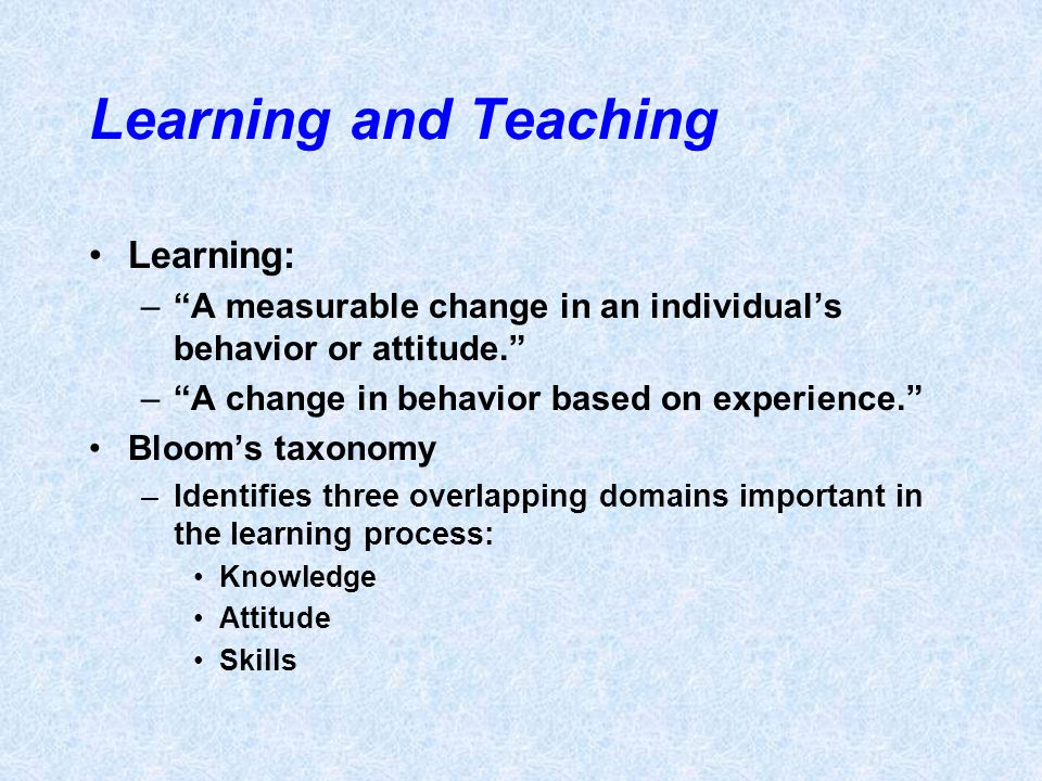 Learning and Teaching Learning: