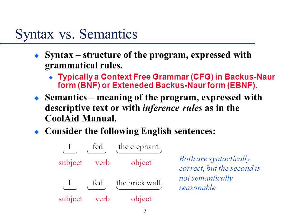 syntax vs semantics