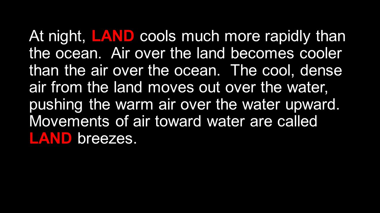 At night, LAND cools much more rapidly than the ocean
