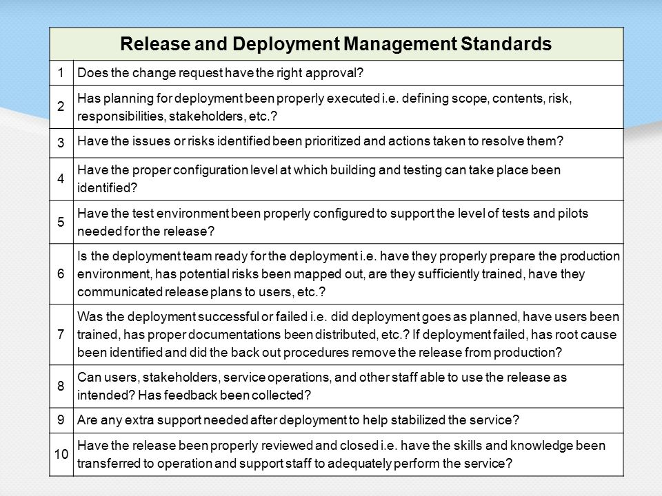 Release and Deployment Management Standards