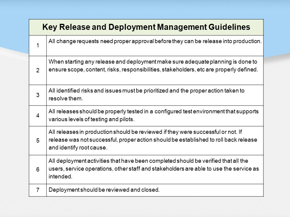 Key Release and Deployment Management Guidelines