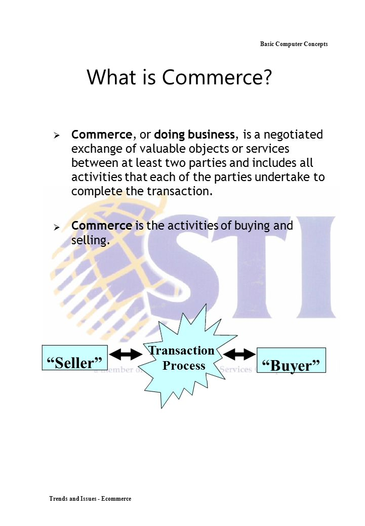 What is Commerce Seller Buyer Transaction Basic Computer Concepts