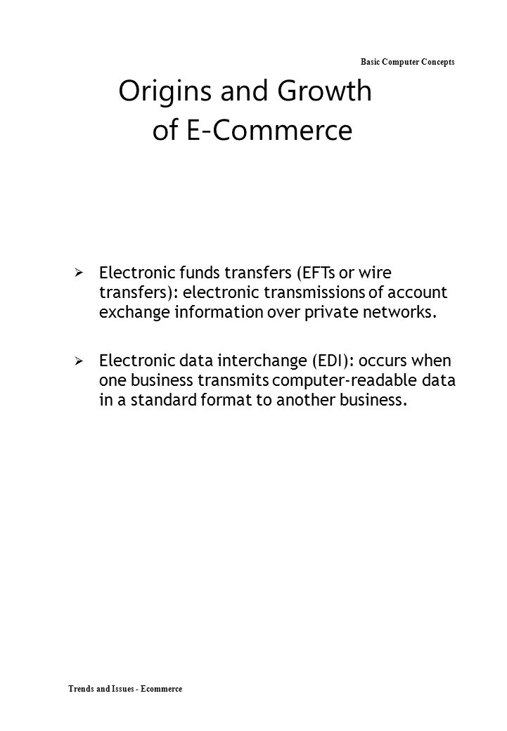 Origins and Growth Basic Computer Concepts of E-Commerce
