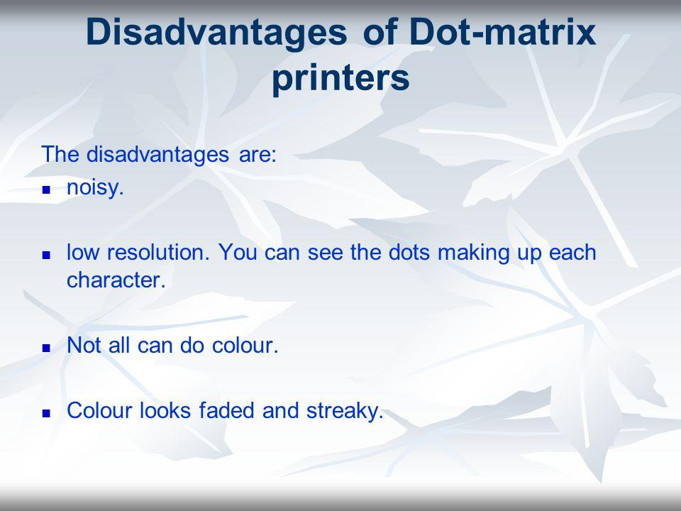 Working principle of dot matrix, inkjet, laser printers
