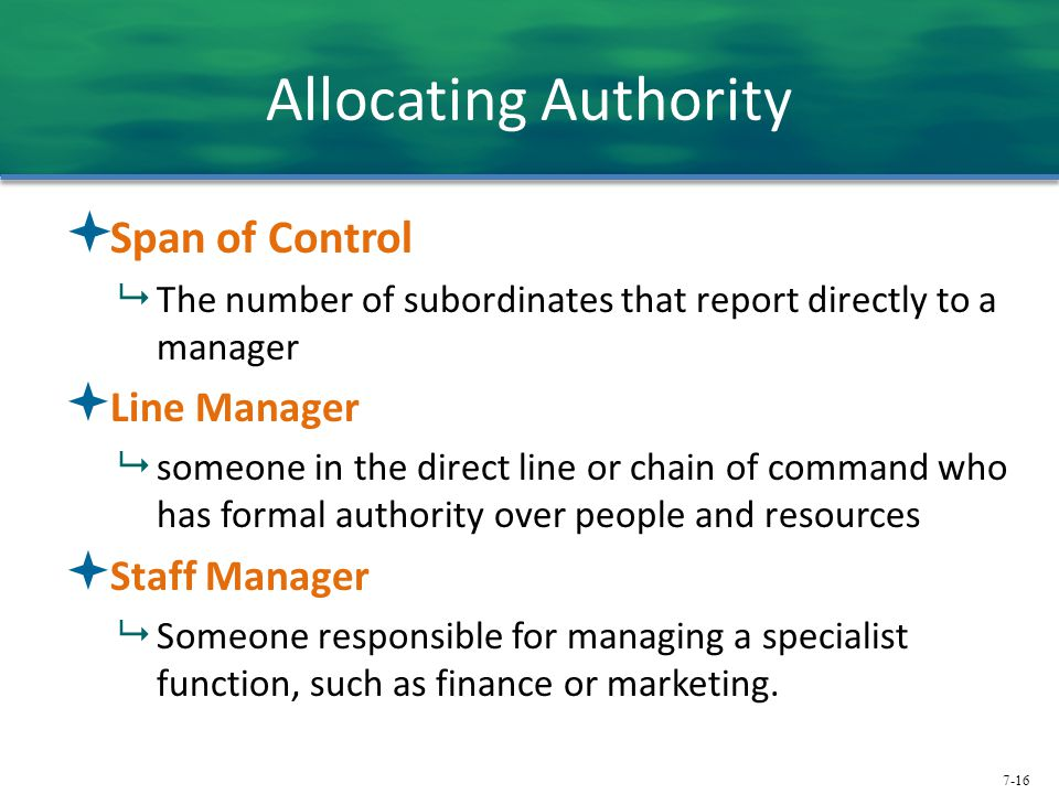 Allocating Authority Span of Control Line Manager Staff Manager