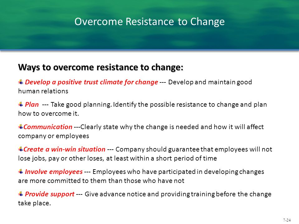 Overcome Resistance to Change