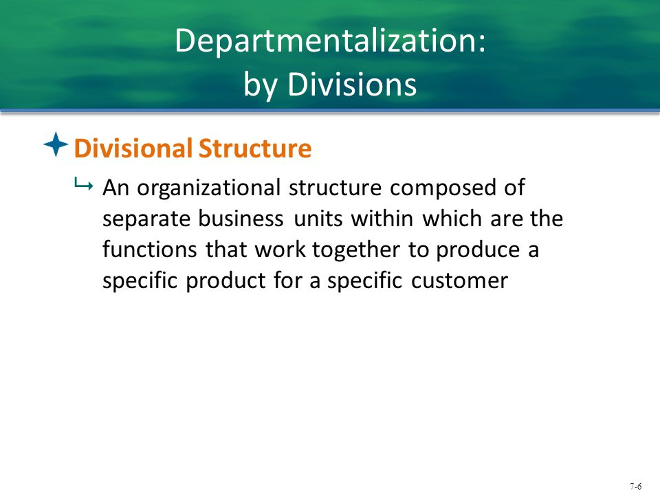 Departmentalization: by Divisions