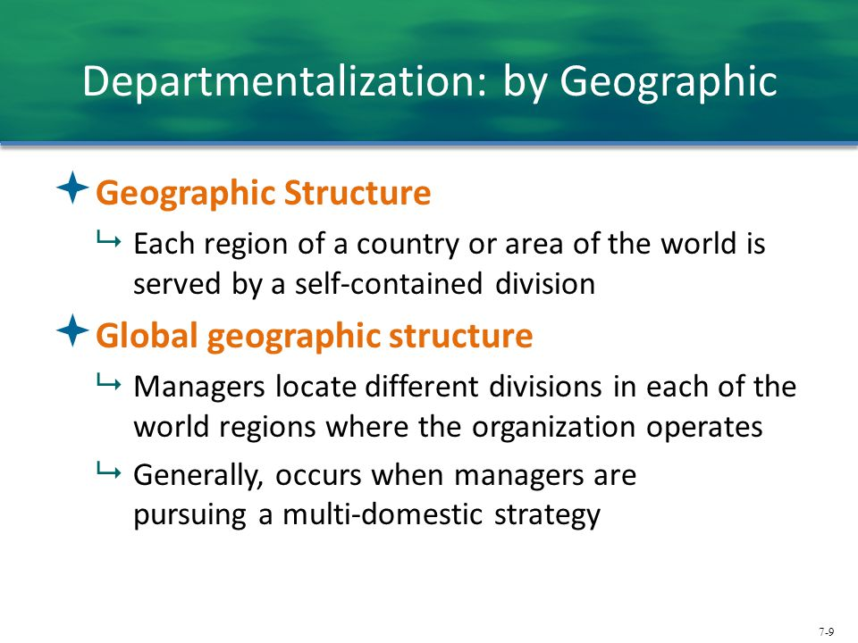 Departmentalization: by Geographic