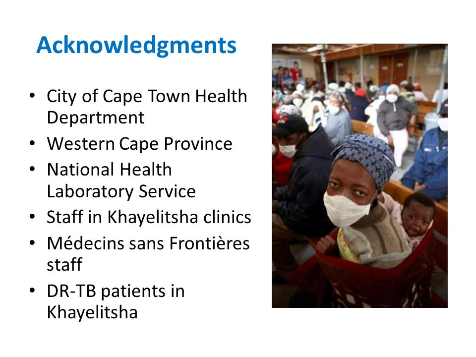 Acknowledgments City of Cape Town Health Department