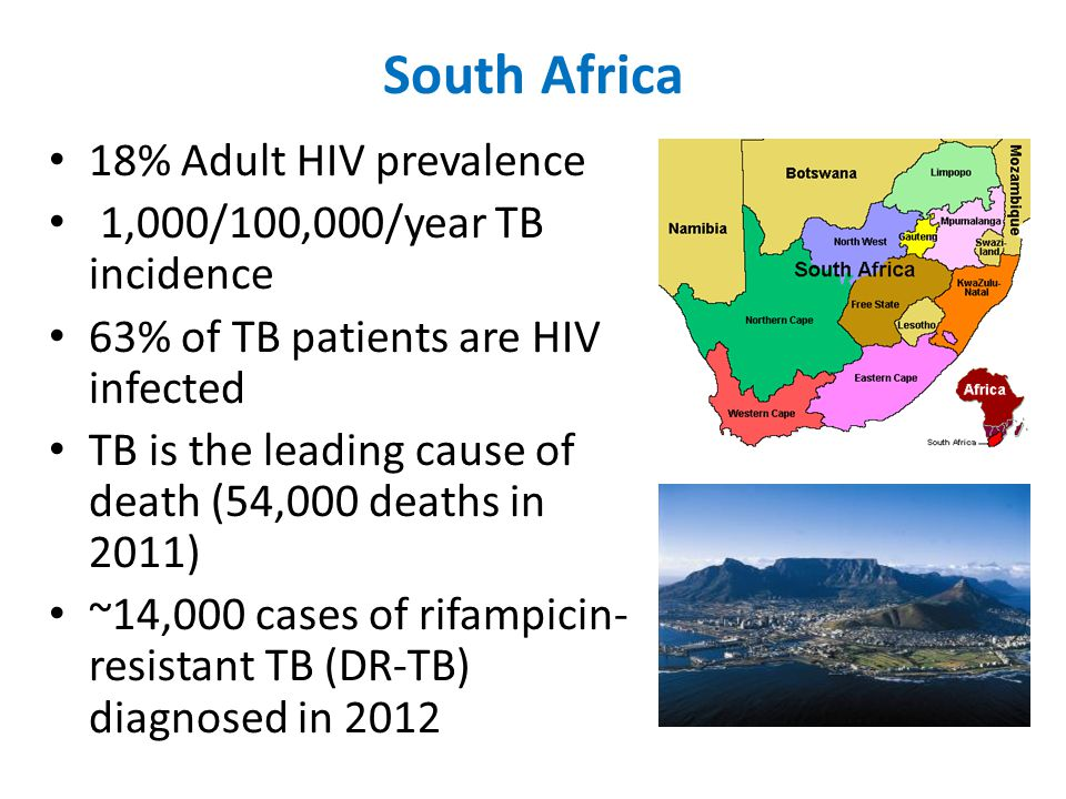 South Africa 18% Adult HIV prevalence 1,000/100,000/year TB incidence