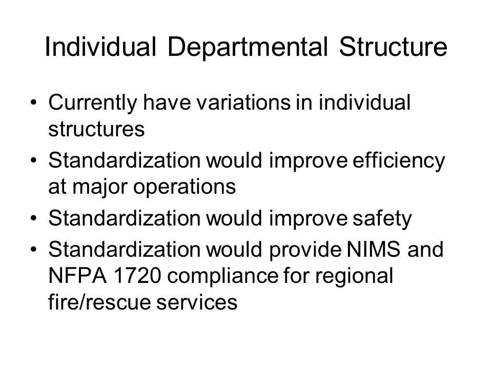 Individual Departmental Structure