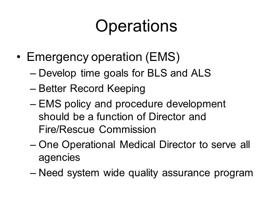 Operations Emergency operation (EMS)