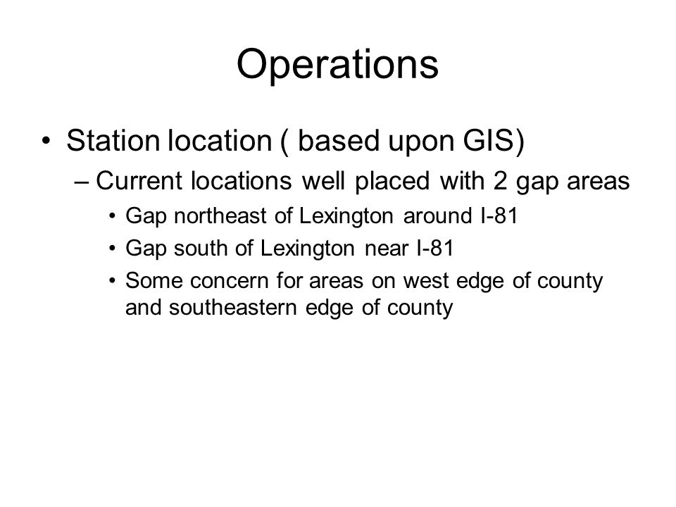 Operations Station location ( based upon GIS)