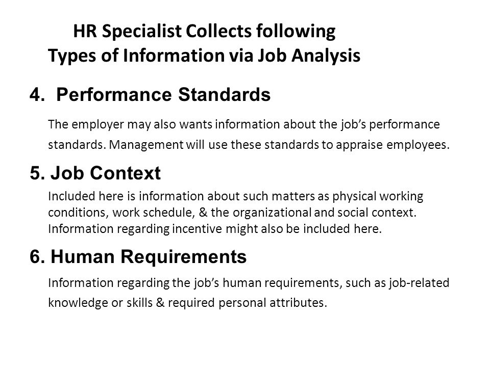 Hr Specialist Collects Following Types Of Information Via