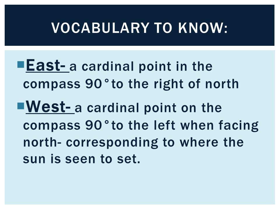 East- a cardinal point in the compass 90°to the right of north