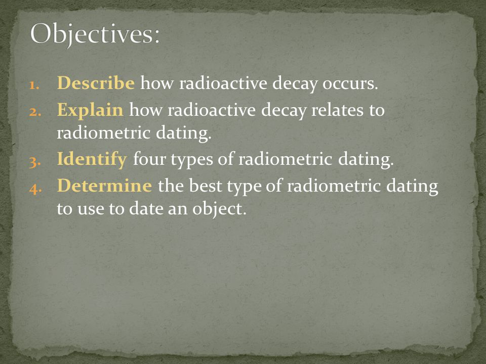 What are the four types of radiometric dating