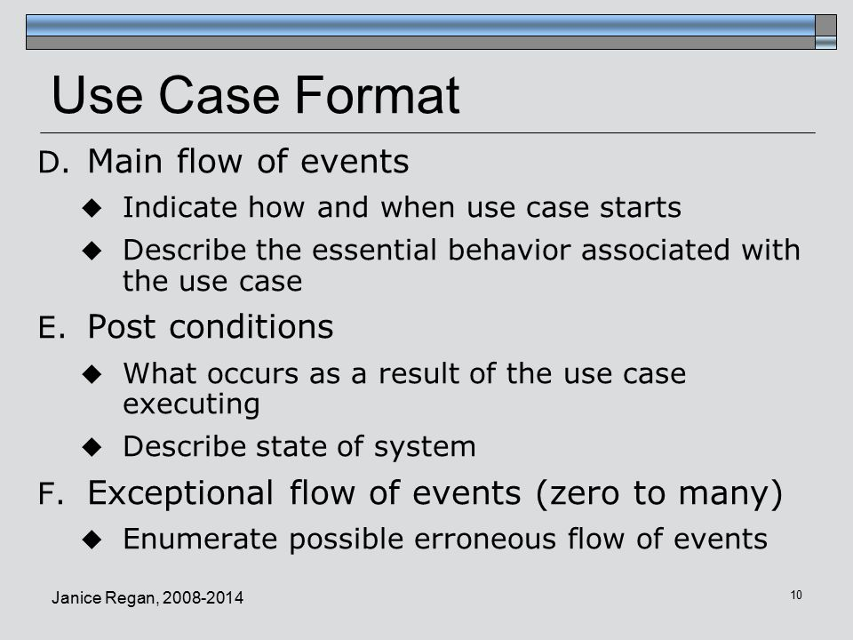 Use Case Format Main flow of events Post conditions