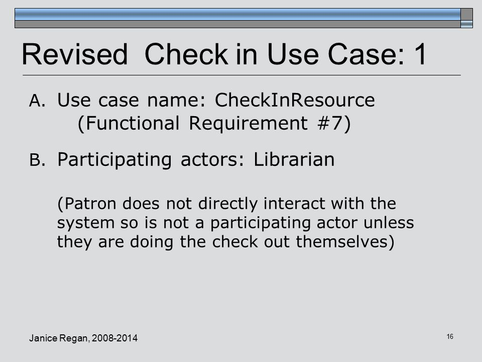 Revised Check in Use Case: 1