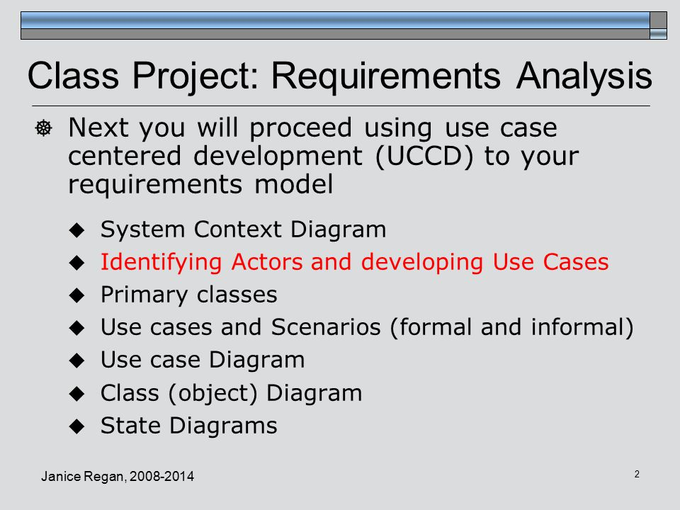 Class Project: Requirements Analysis