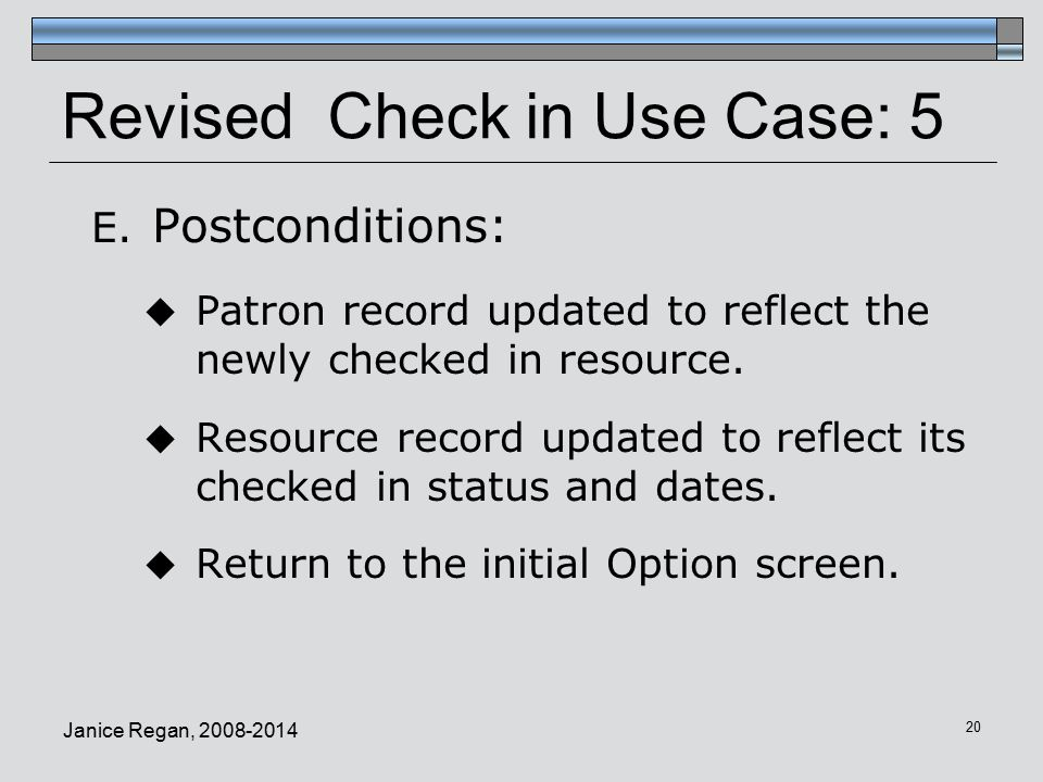 Revised Check in Use Case: 5