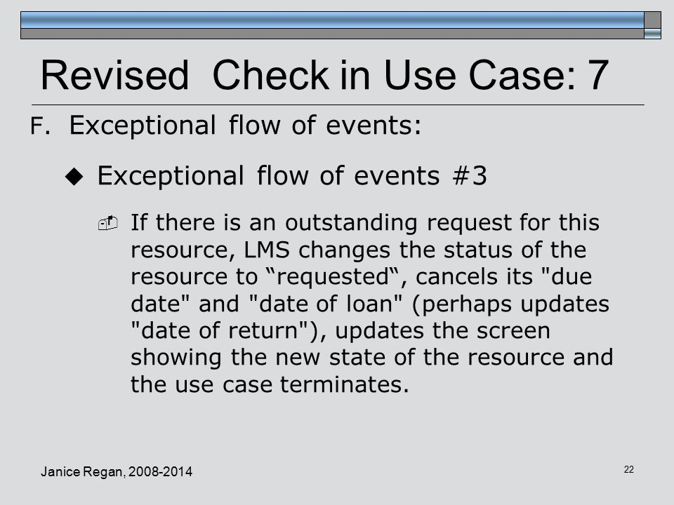 Revised Check in Use Case: 7