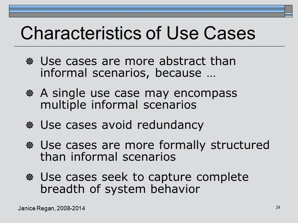 Characteristics of Use Cases