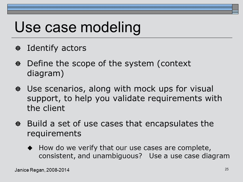 Use case modeling Identify actors