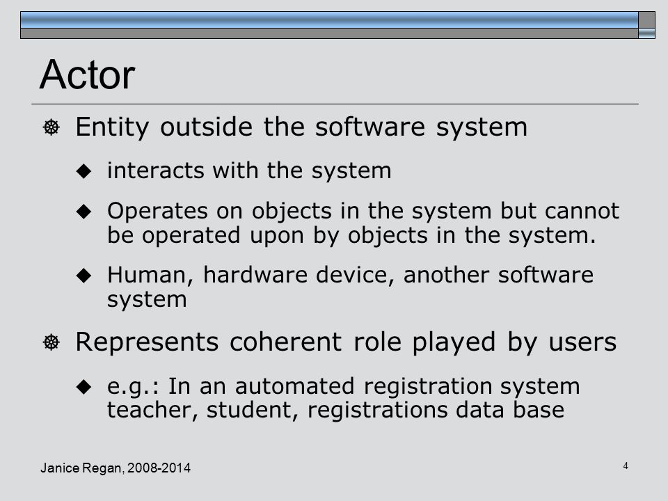 Actor Entity outside the software system