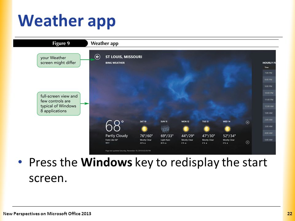 Weather app Press the Windows key to redisplay the start screen.