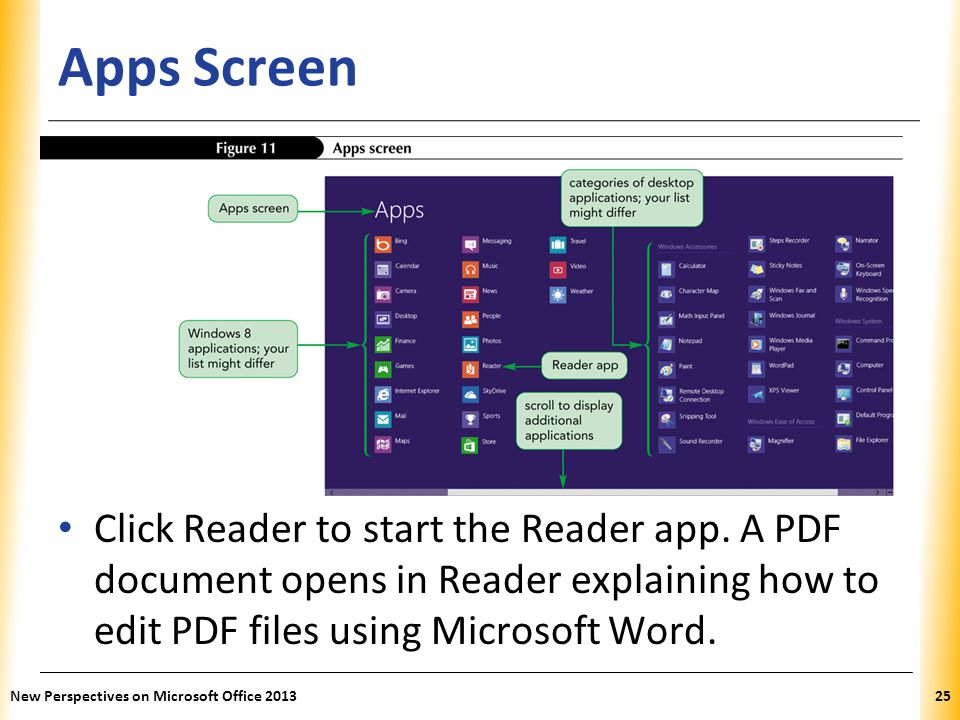 Apps Screen Click Reader to start the Reader app. A PDF document opens in Reader explaining how to edit PDF files using Microsoft Word.