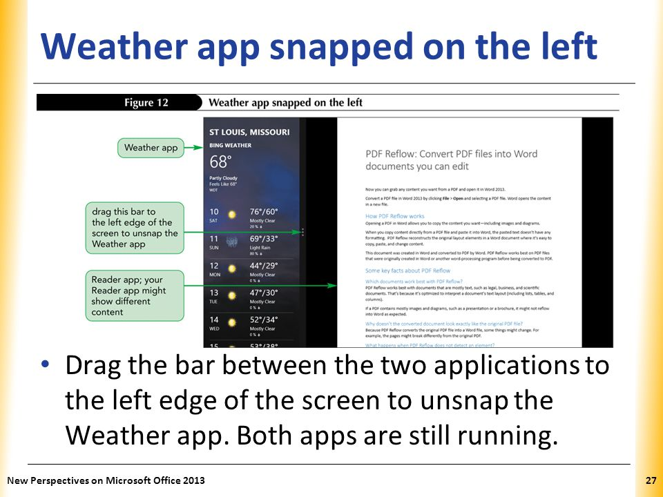 Weather app snapped on the left