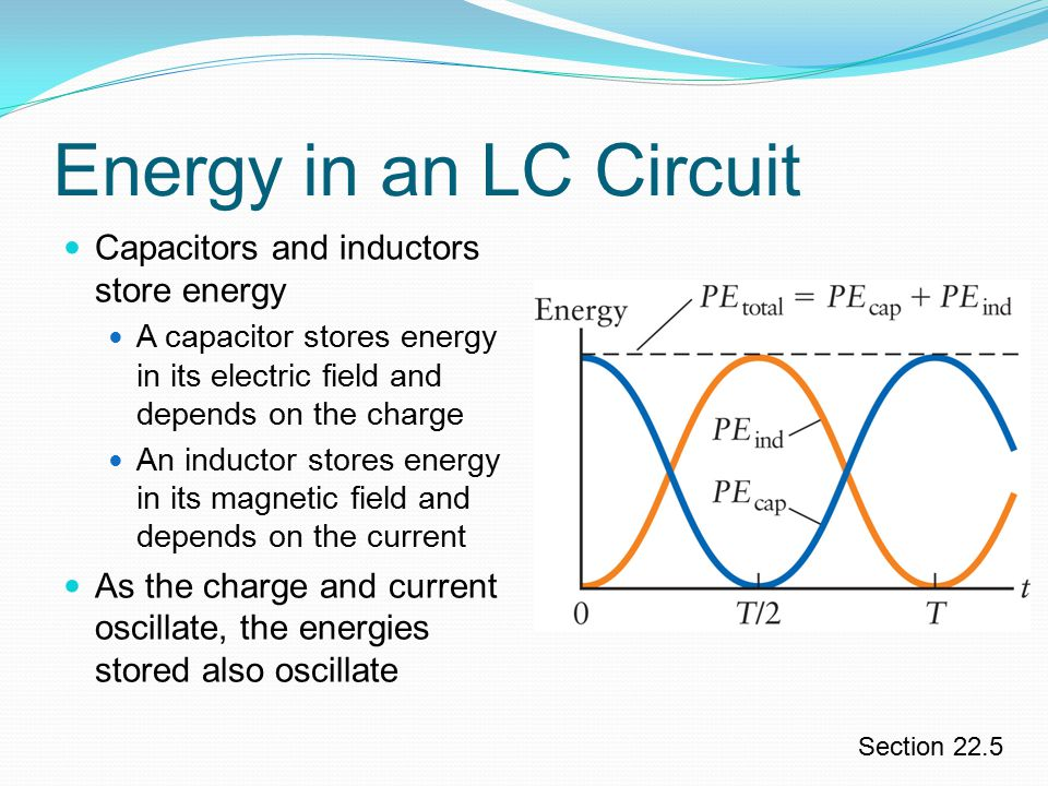 Energy in an LC Circuit Capacitors and inductors store energy