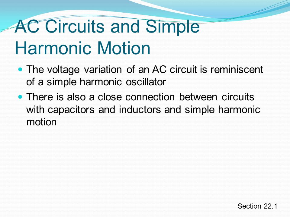 AC Circuits and Simple Harmonic Motion