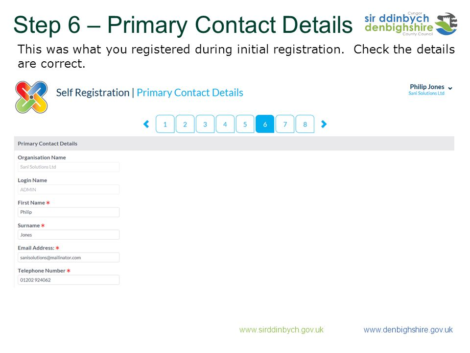 Step 6 – Primary Contact Details