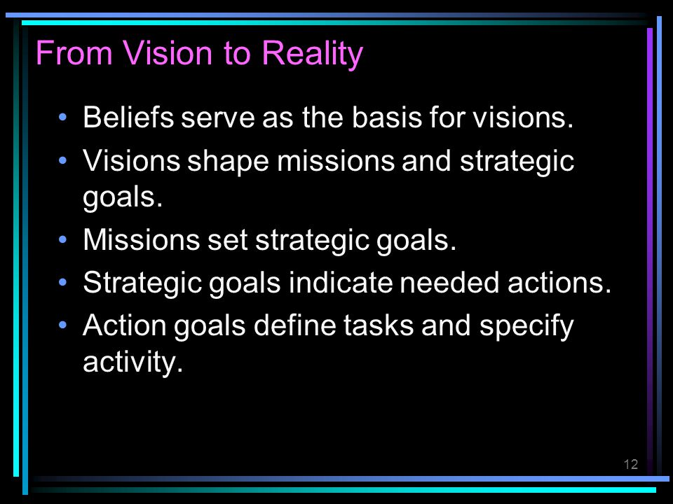 From Vision to Reality Beliefs serve as the basis for visions.