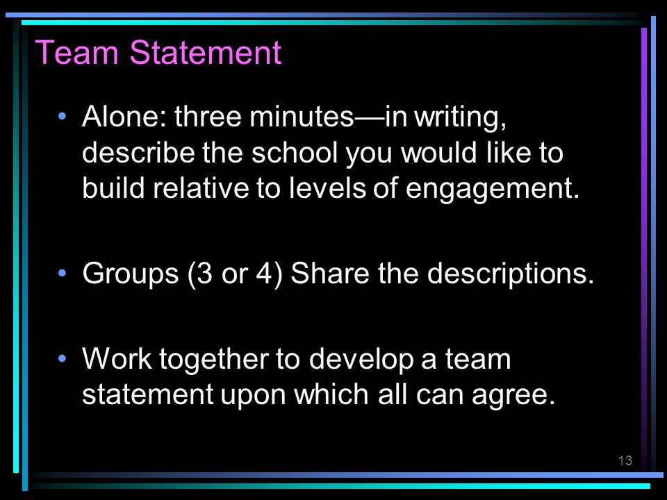 Team Statement Alone: three minutes—in writing, describe the school you would like to build relative to levels of engagement.