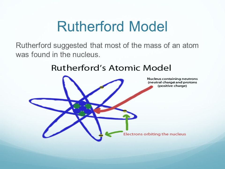 Rutherford Model Rutherford suggested that most of the mass of an atom was found in the nucleus.