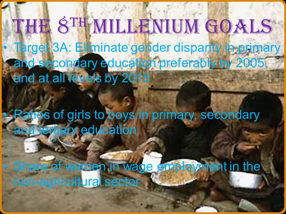 The 8th Millenium Goals Target 3A: Eliminate gender disparity in primary and secondary education preferably by 2005, and at all levels by