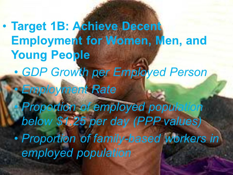 Target 1B: Achieve Decent Employment for Women, Men, and Young People