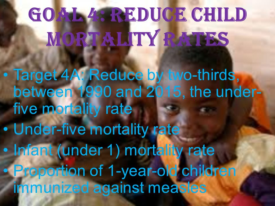 Goal 4: Reduce child mortality rates