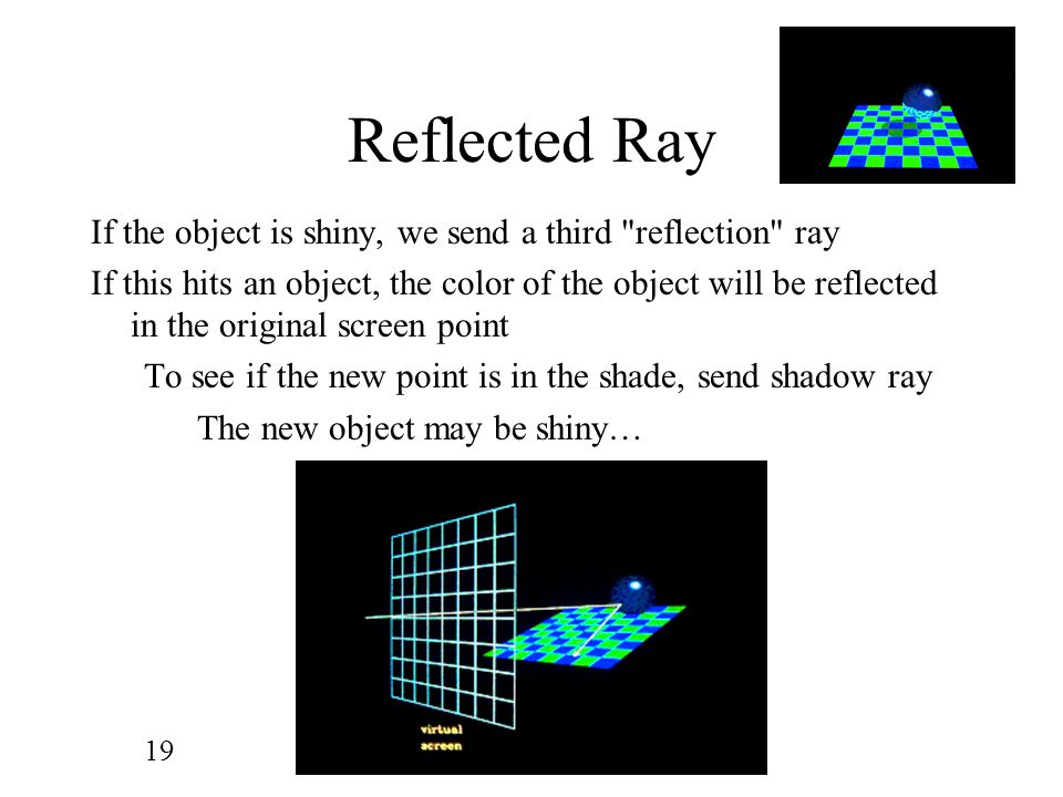 Reflected Ray If the object is shiny, we send a third reflection ray