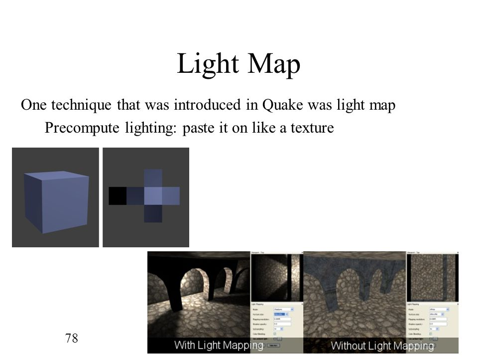 Light Map One technique that was introduced in Quake was light map