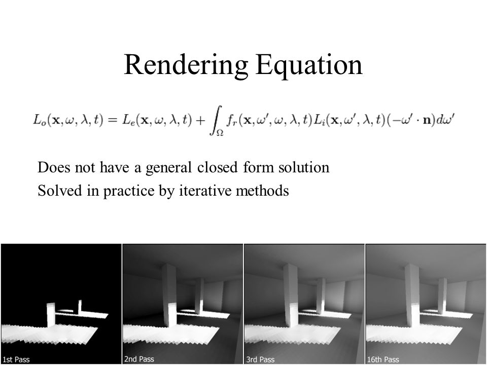 Rendering Equation Does not have a general closed form solution