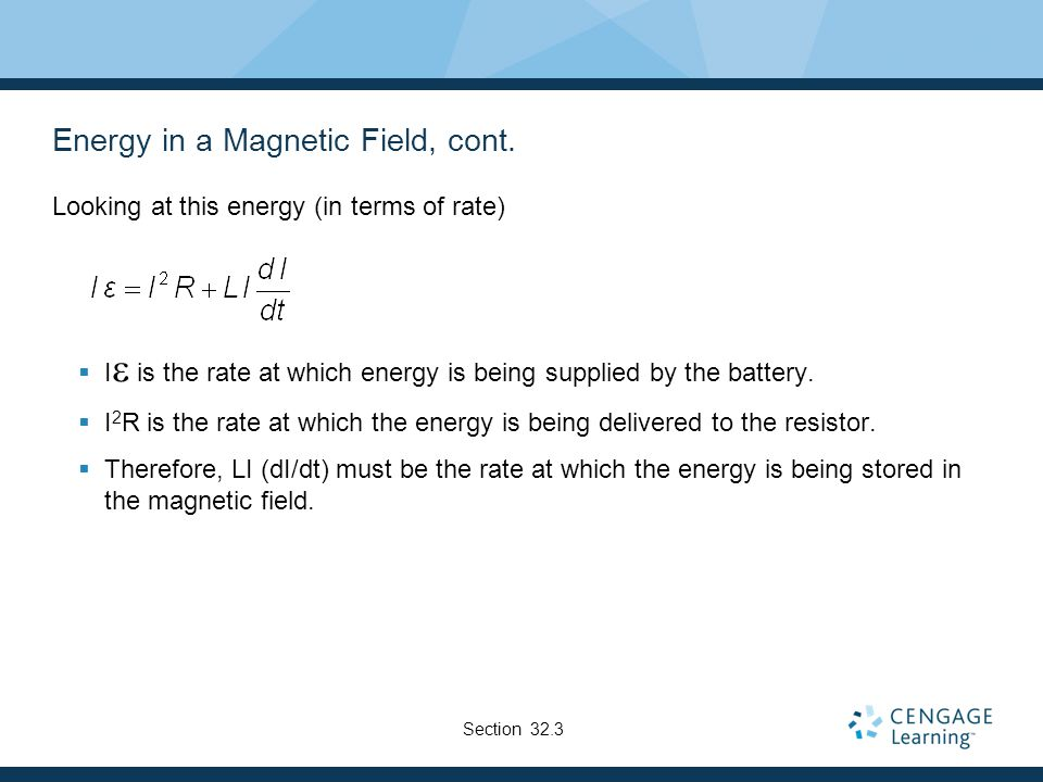 Energy in a Magnetic Field, cont.