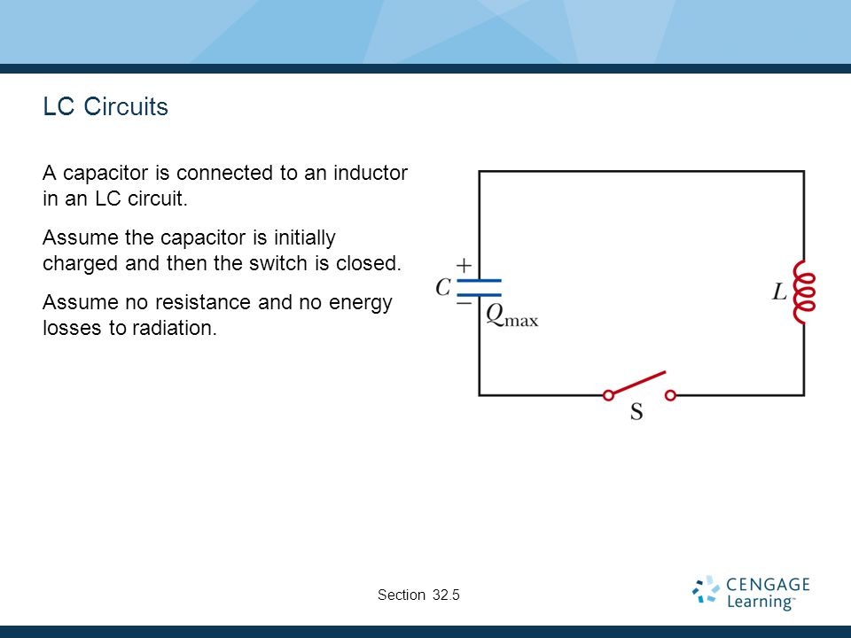 LC Circuits A capacitor is connected to an inductor in an LC circuit.