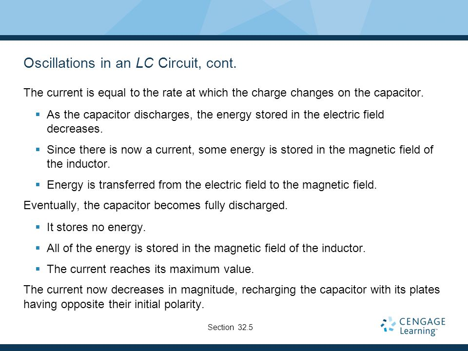 Oscillations in an LC Circuit, cont.