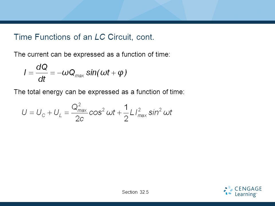 Time Functions of an LC Circuit, cont.